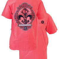 Southern Couture Preppy Vintage Fleur De Lis Comfort Colors Red Orange Girlie Bright T Shirt