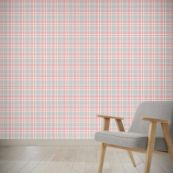 PINK AND BLUE STRIPE PLAID Wallpaper By Northern Whimsy
