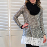 Soft Around the Edges Lace Trim Tunic {Black+White}