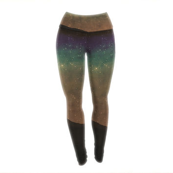 "Sylvia Coomes ""Star Light"" Teal Brown Yoga Leggings"