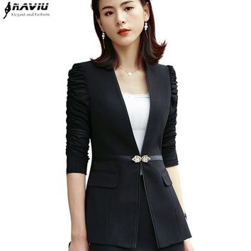 Fashion half sleeve women blazer OL New elegant plus size formal slim jackets office ladies black white work wear uniform