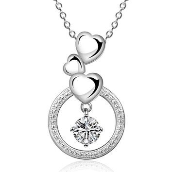 colares femininos sterling silver three heart circle silver -plated women necklace chain pendants691 MP