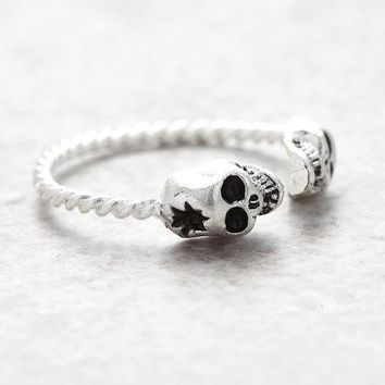 Punk Gothic Tiny Double Evil Skulls Open Ring for Women Twist