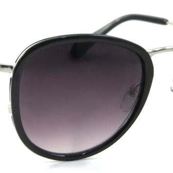 Retro Aviator Sunglasses Groove Pilot Metal Style Men Women Frame Smoke Lens