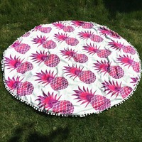Pineapple Round Beach Throw -Pink