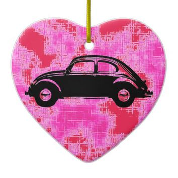 Classic Bug Double-Sided Heart Ceramic Christmas Ornament