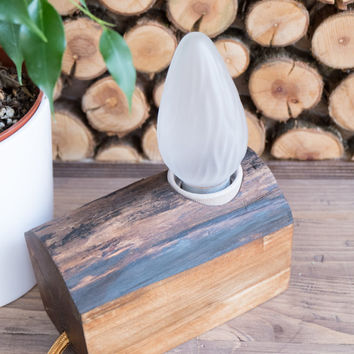 Wood lamp, reclaimed - unique and simple minimalist, industrial home decor, gift for Holidays, birthday, as table, desk or bedside lamp