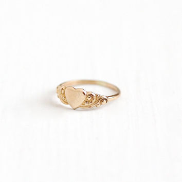 Vintage Art Deco 10k Yellow Gold Heart Ring - Antique Size 1 1/2 Children's Baby Petite Tiny Midi Romantic Fine Pinky Ring Jewelry , BDA