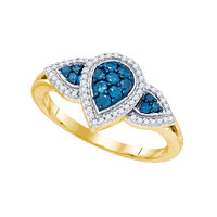 Blue Diamond Fashion Ring in 10k Gold 0.45 ctw
