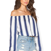 Capulet Off The Shoulder Peasant Top in Navy Stripe