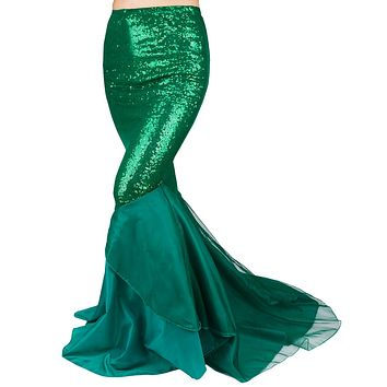 Green Blue Sequin Stretch Spandex Mermaid Tail Skirt with Layered Tulle Train
