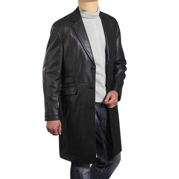 Black leather 3/4 length trench coat