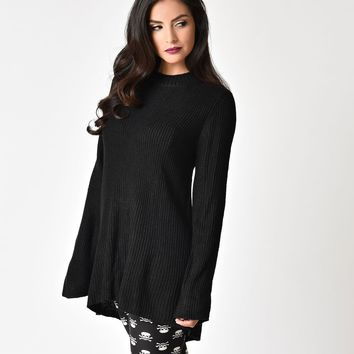 Black Long Sleeve Lace Up Back Knit Sweater