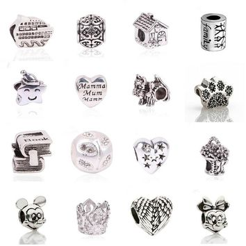 New European Silver Plated Delicate Angel Wings Heart Charm Beads Fit Pandora Bracelet