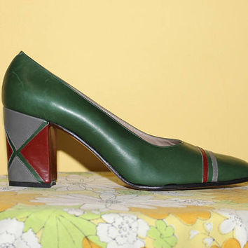 Vintage 70s DESIGNER Heels / COLORBLOCKING Block Heel / RARE Rosina Ferragamo Schiavone Pumps / Hunter Green, Grey, Red / Size 7 us, 37.5 eu