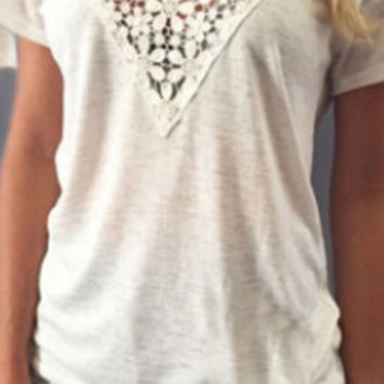White Lace Patchwork V-Neck Shirt