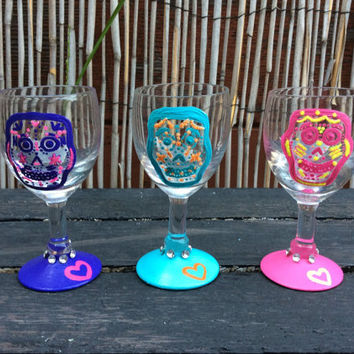 Sugar Skull Hand Painted Port Glasses (set of 3)