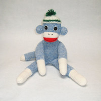 Blue sock monkey stuffed boy toy Simon Rockford Red Heel sock red green white handmade happy classic crocheted hat OOAK baby shower gift