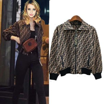 FENDI sells fashionable cardigan jackets with lapels and zippers for women High quality