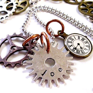 Steampunk Jewelry, Personalized Jewelry, Hand Stamped Jewelry, Personalized Steampunk Jewelry