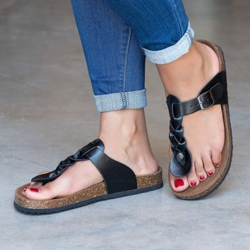 Braided Thong Footbed Black Sandals