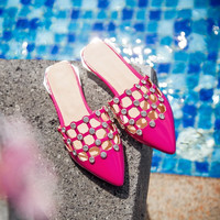 Design Summer Korean Shoes Stylish Rhinestone Flat Plus Size Sandals [4920247620]
