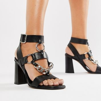 ASOS DESIGN Premium Torch leather heeled sandals at asos.com