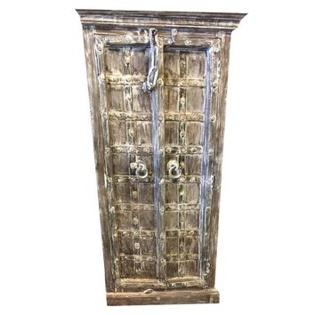 Antique Indian Rustic Whitewashed Teak Armoire