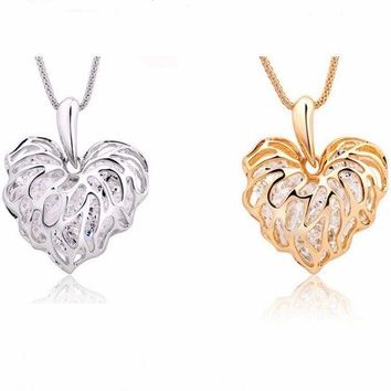 "Gold OR Silver Crystal Filled Filigreed Heart 1.5""Pendant Statement 22"" Necklace"