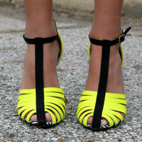 Bright Ideas Neon Yellow Color Block Heels