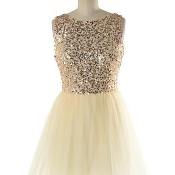 Champagne And Caviar Ballerina Sequin Tulle Dress   Gold