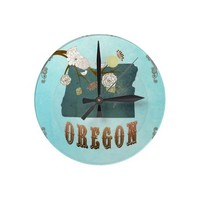 Oregon Map With Lovely Birds Clocks