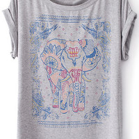 ROMWE | Elephant Floral Grey T-shirt, The Latest Street Fashion