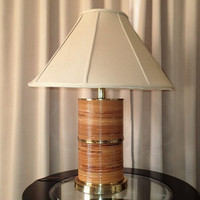 Bamboo Table lamp Pencil Reed Rattan Wrapped Brass Monumental , Mad Men, Mid Century Modern