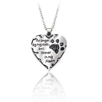 """""""No Longer By My Side But Forever In My Heart"""" Crystal Heart Paw Print Necklace"""