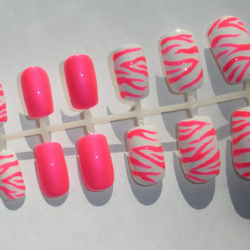 Neon Pink Zebra Fake Nails - False, Artificial, Acrylic, Press-On
