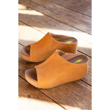 Carrier Slip On Peep Toe Platform Wedge, Tan | Very Volatile