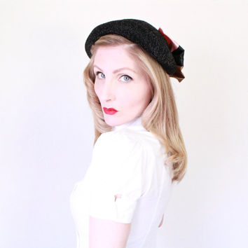 1930s Hat / VINTAGE / 30s Hat / Over-sized Bow / Sparkly / Summer Bowler Hat / CUTE