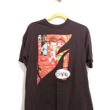 Vintage 1990 David Bowie Top Charting Songs Artist Fan T-Shirt, Size XL
