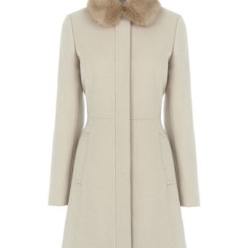 SOPHIA FAUX FUR COLLAR COAT