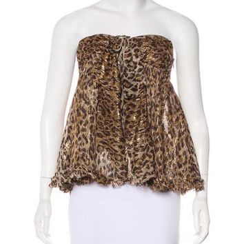 Strapless Leopard Print Top