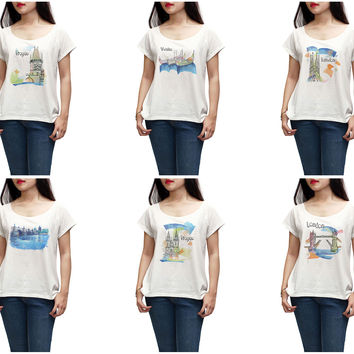 Women Watercolor famous place painting Printed T-shirt WTS_01