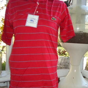 vintage DEADSTOCK Izod LACOSTE Striped Red Blue Polo Shirt NOS