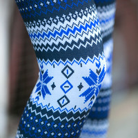 Blue Chevron Floral Leggings