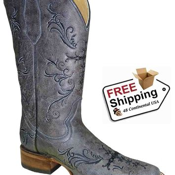 Corral Women's Cross Embroidery Square Toe Western Boots