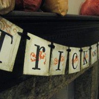TRICK OR TREAT Halloween Banner Garland Sign by bekahjennings