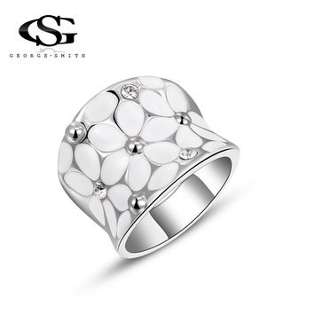 GS Crystal Rings For Women White Flower Shiny Rhinestone Silver Color Wedding Jewelry Female Ring Bride Engagement Ring G2I