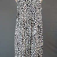 Mod 1960s Dress Black and White Op Art - Pleated Tent Shift - fits 34 inch bust
