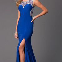 Sleeveless Floor Length Dress with Jewel Detailing