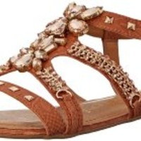 Naughty Monkey Women's Cityscape Dress Sandal, Tan, 7.5 M US